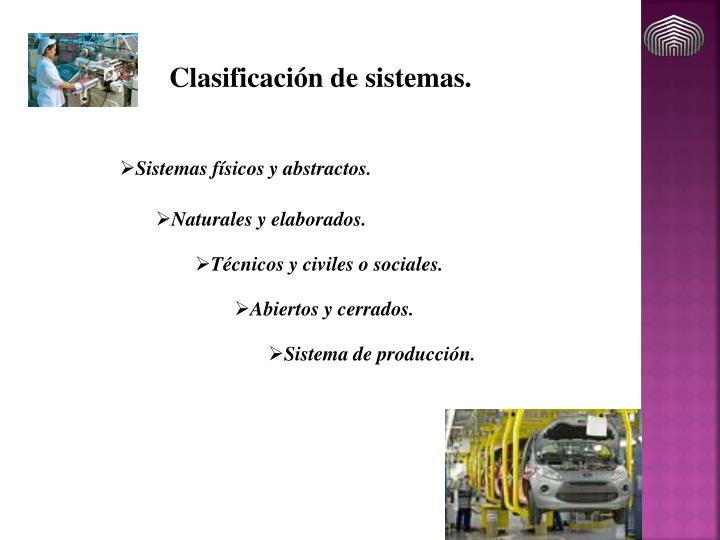 Clasificación de sistemas.