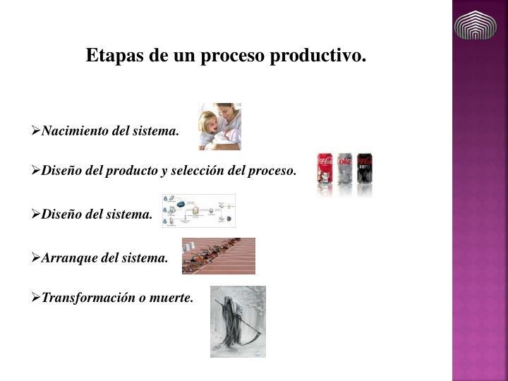 Etapas de un proceso productivo.