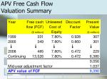 apv free cash flow valuation summary
