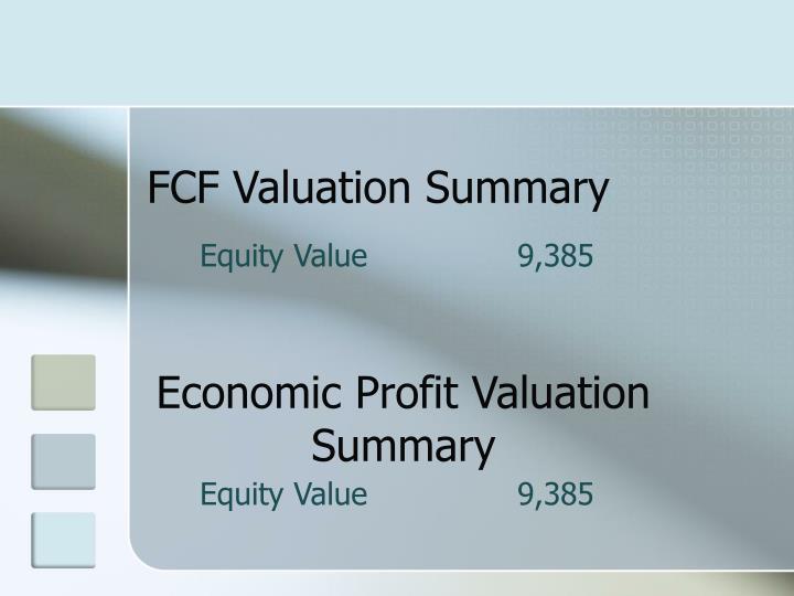 FCF Valuation Summary
