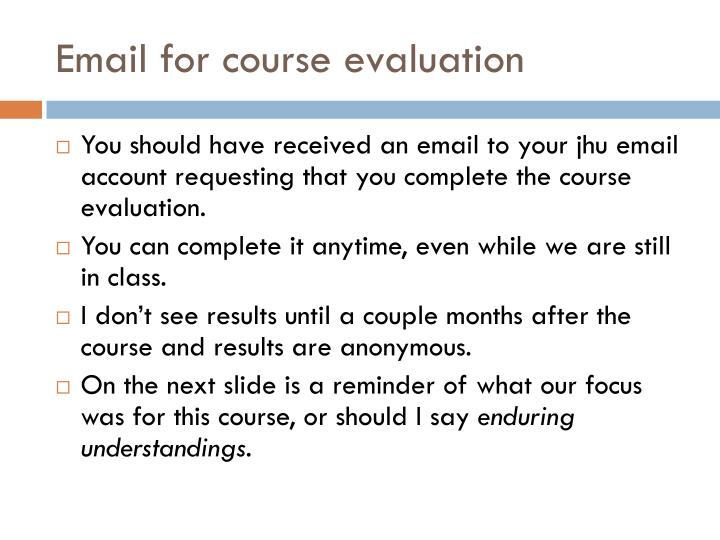 Email for course evaluation
