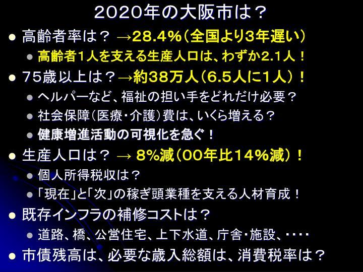 2020年の大阪市は?