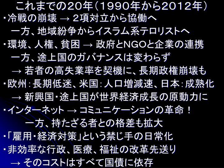 これまでの20年(1990年から2012年)