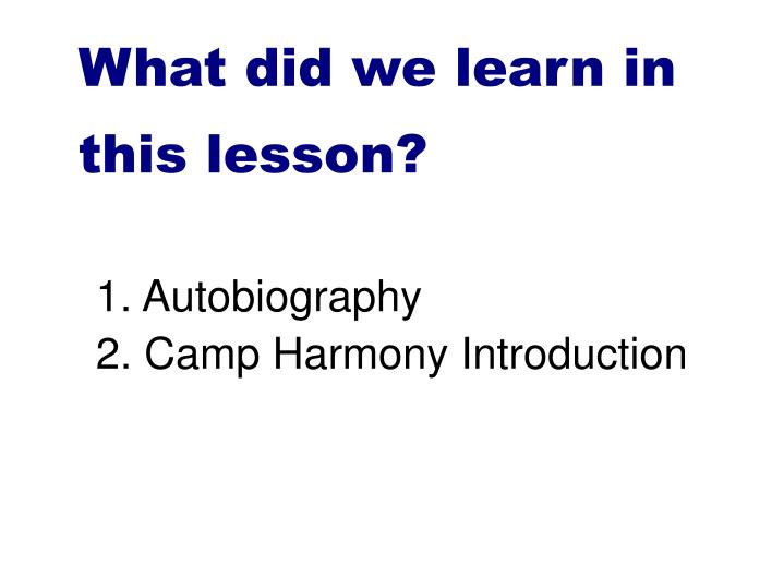What did we learn in this lesson?