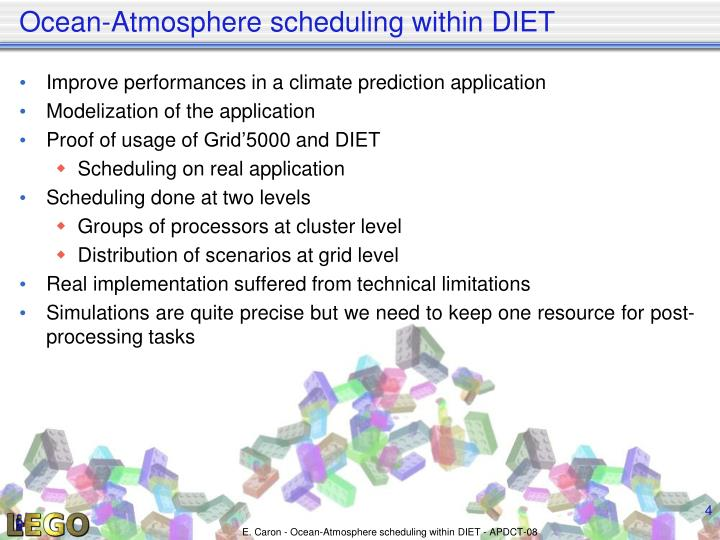 Ocean-Atmosphere scheduling within DIET