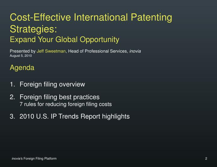 Cost-Effective International Patenting Strategies: