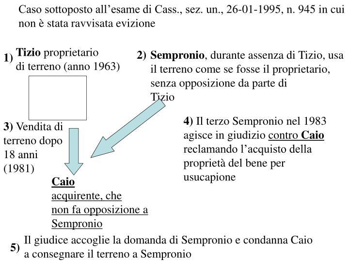 Caso sottoposto all'esame di Cass., sez. un., 26-01-1995, n. 945 in cui