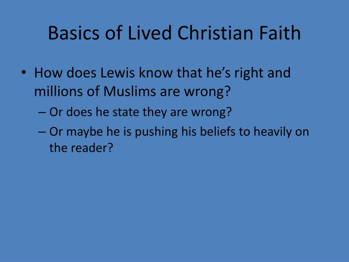 Basics of lived christian faith