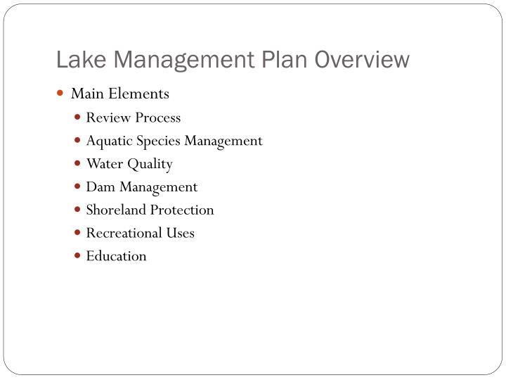 Lake Management Plan Overview