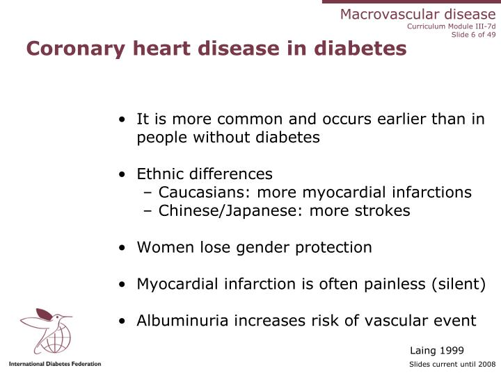 Coronary heart disease in diabetes