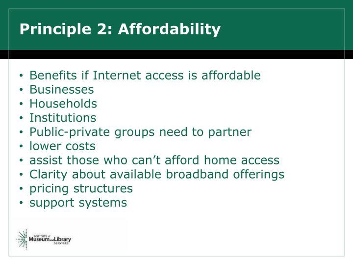 Principle 2: Affordability