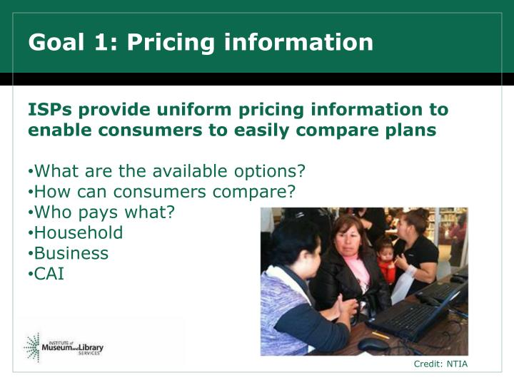 Goal 1: Pricing information