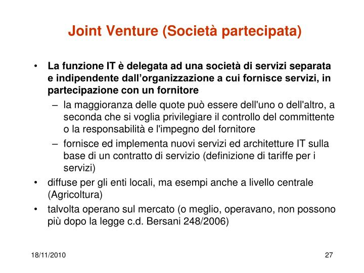 Joint Venture (Società partecipata)