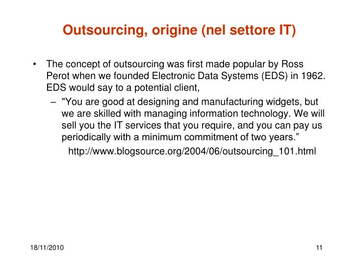 Outsourcing, origine (nel settore IT)