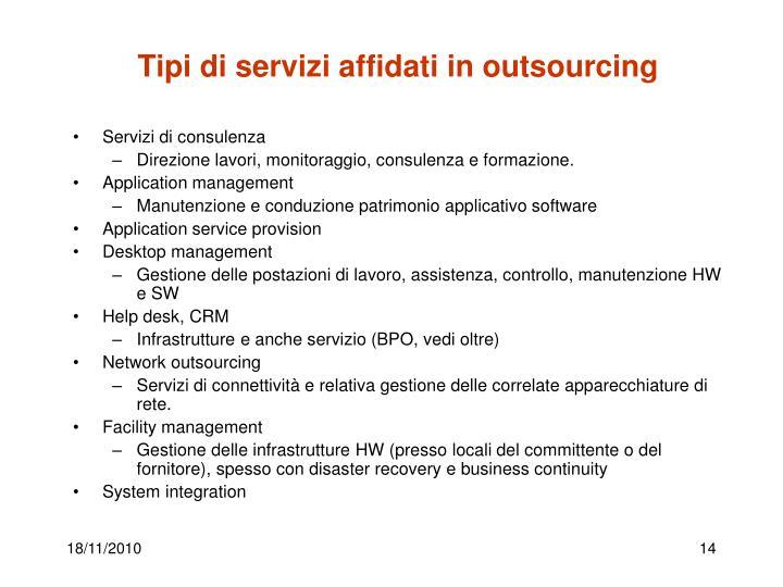 Tipi di servizi affidati in outsourcing