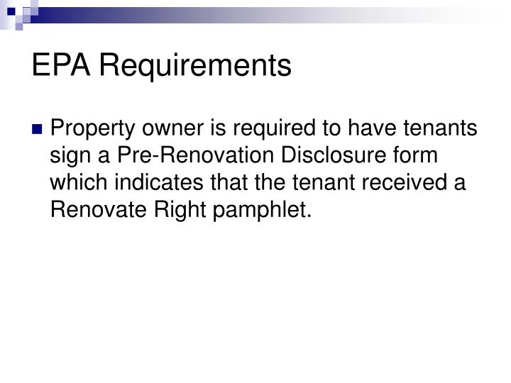 EPA Requirements