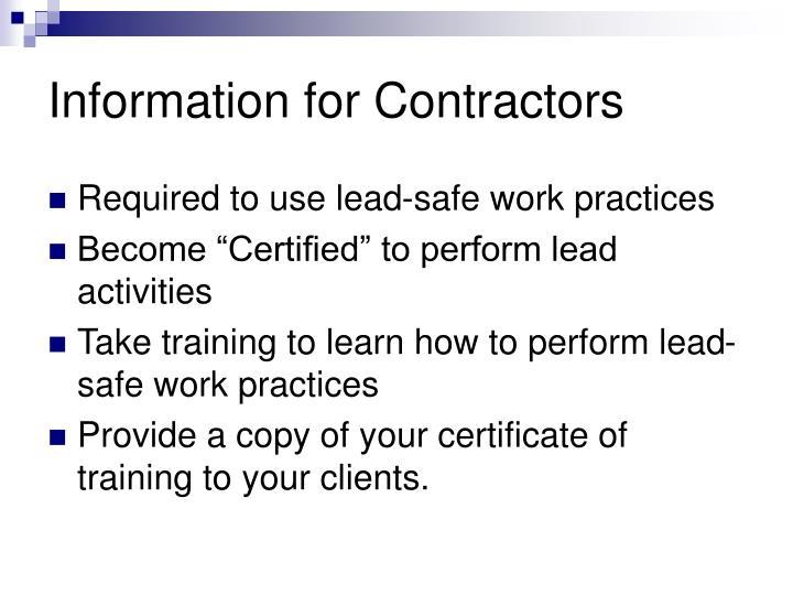 Information for Contractors