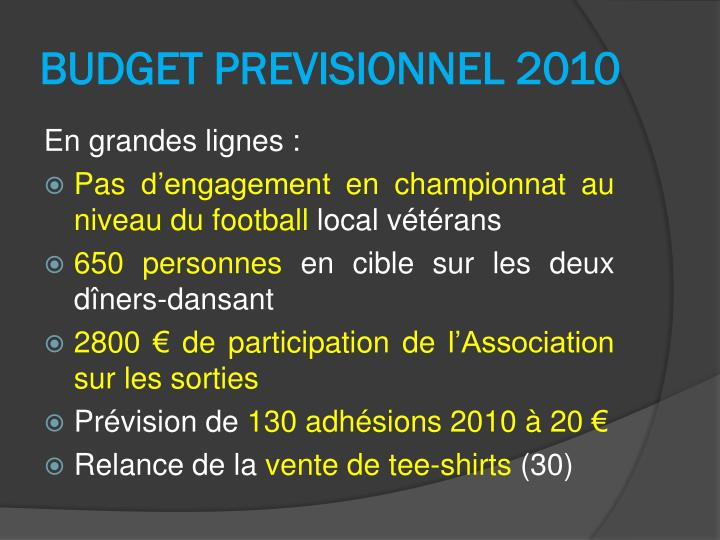 BUDGET PREVISIONNEL 2010