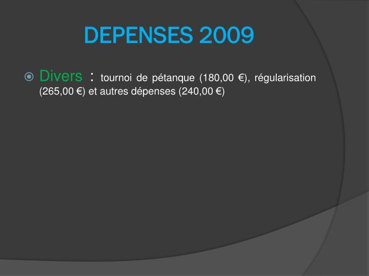 DEPENSES 2009