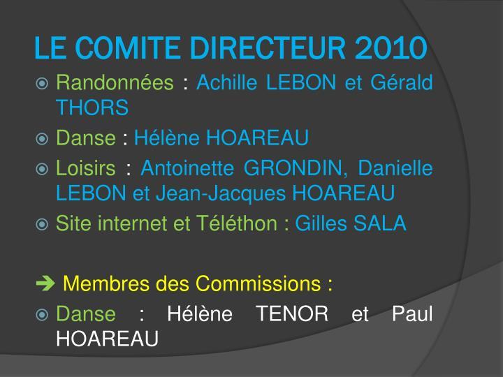 LE COMITE DIRECTEUR 2010