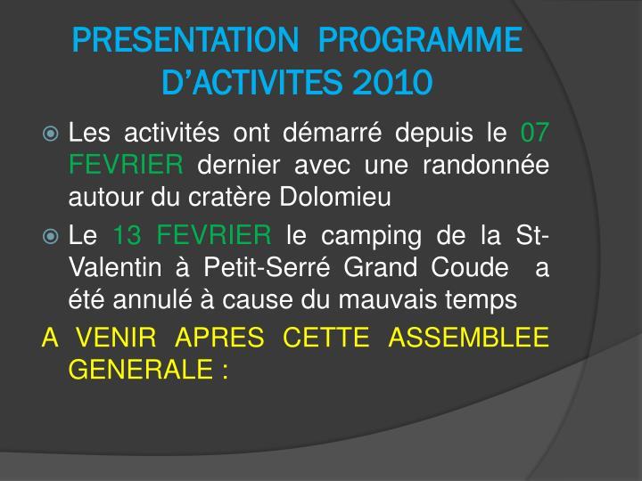 PRESENTATION  PROGRAMME D'ACTIVITES 2010