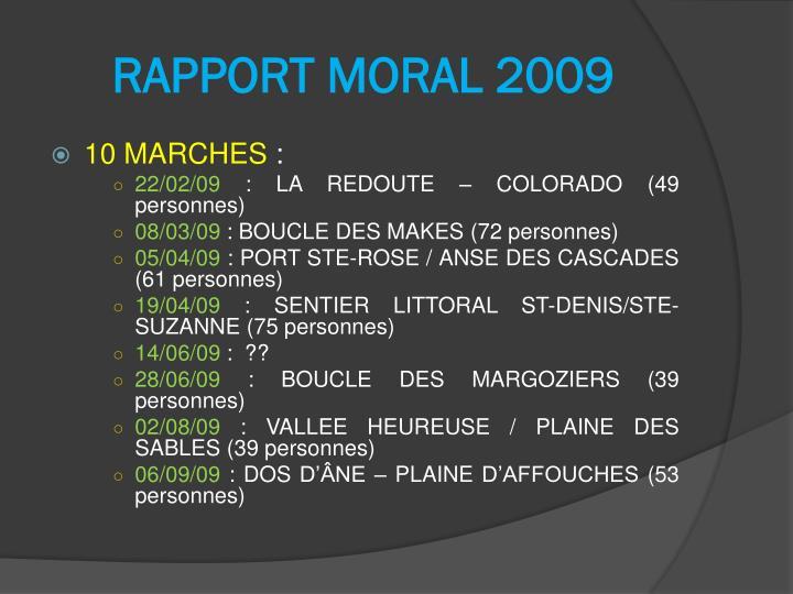 RAPPORT MORAL 2009