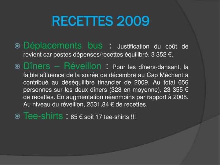 RECETTES 2009