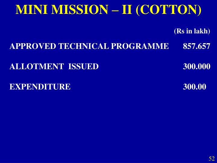MINI MISSION – II (COTTON)