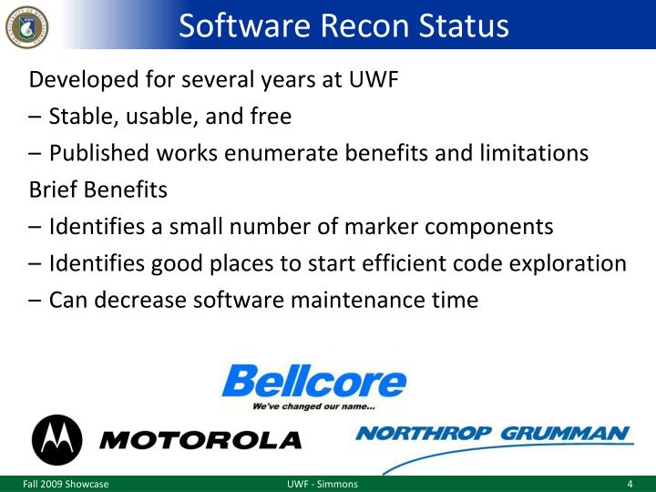 Software Recon Status