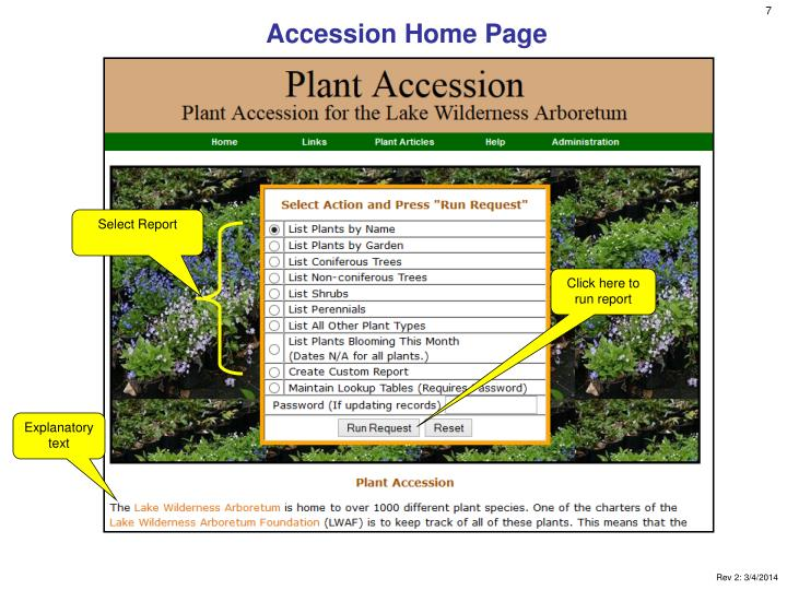 Accession Home Page