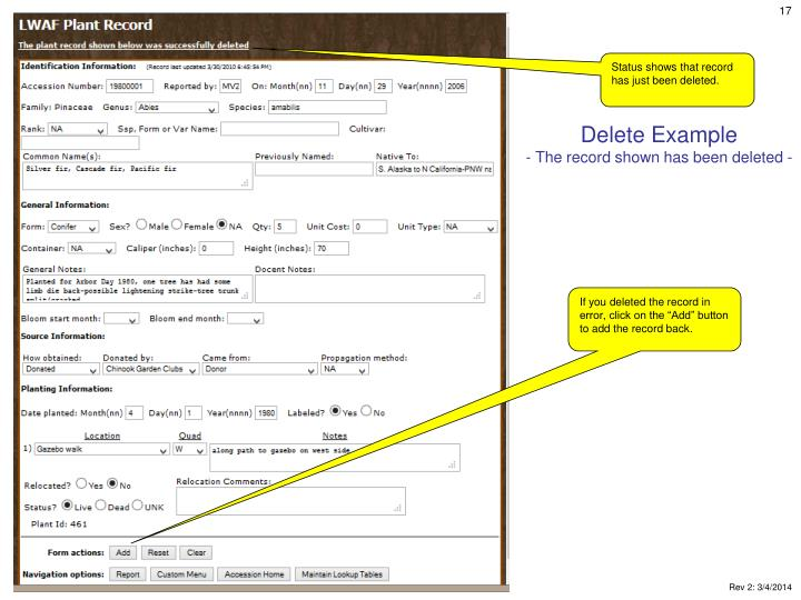 Delete Example
