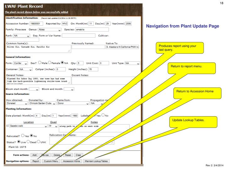 Navigation from Plant Update Page