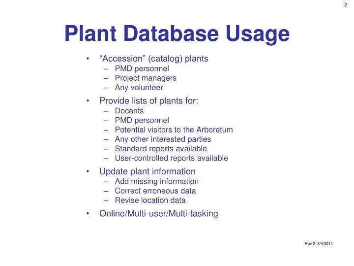 Plant Database Usage