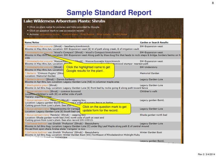Sample Standard Report