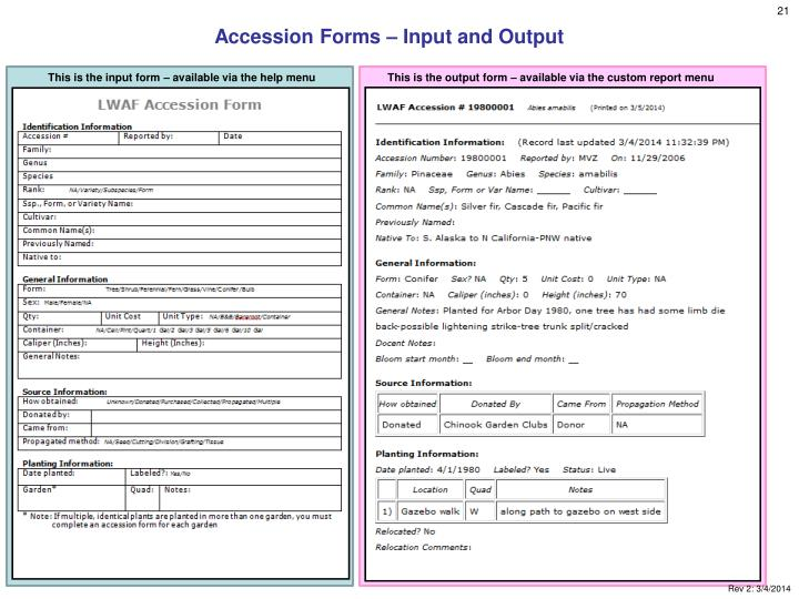 Accession Forms – Input and Output