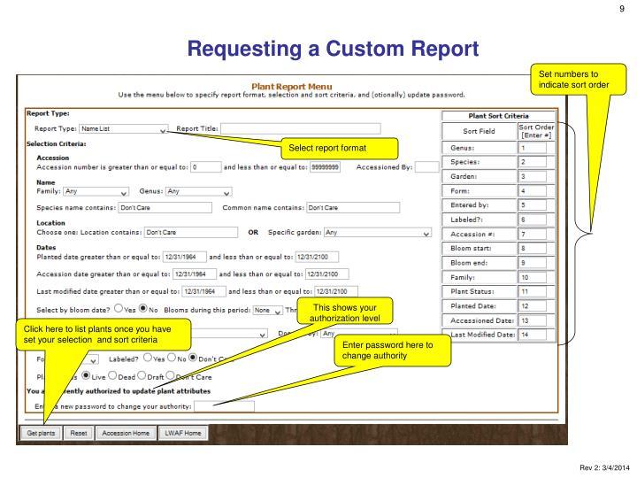 Requesting a Custom Report