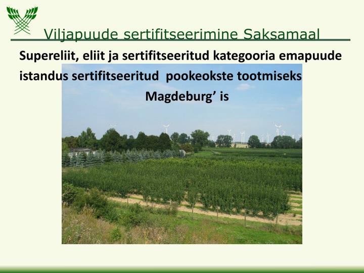 Viljapuude sertifitseerimine Saksamaal