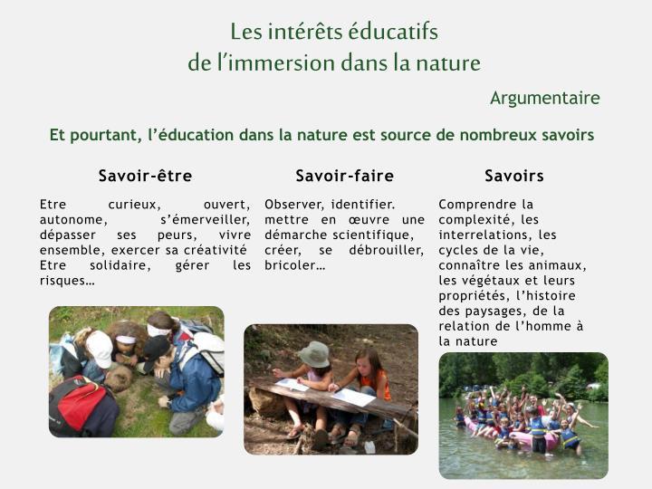 Les intérêts éducatifs