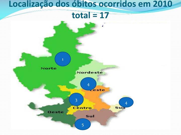 Localização dos óbitos ocorridos em 2010
