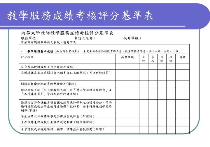 教學服務成績考核評分基準表