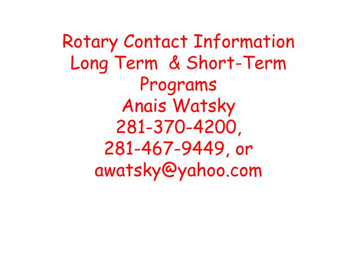 Rotary Contact Information