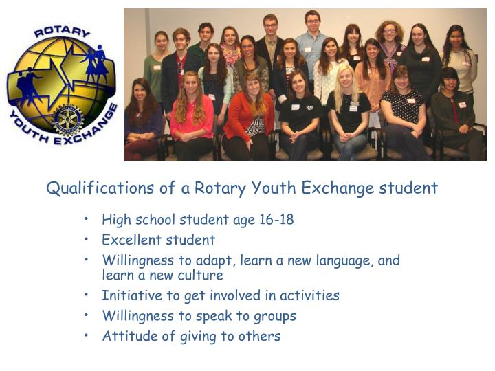 Qualifications of a Rotary Youth Exchange student