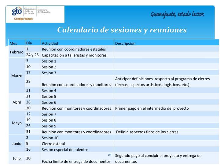 Calendario de sesiones y reuniones