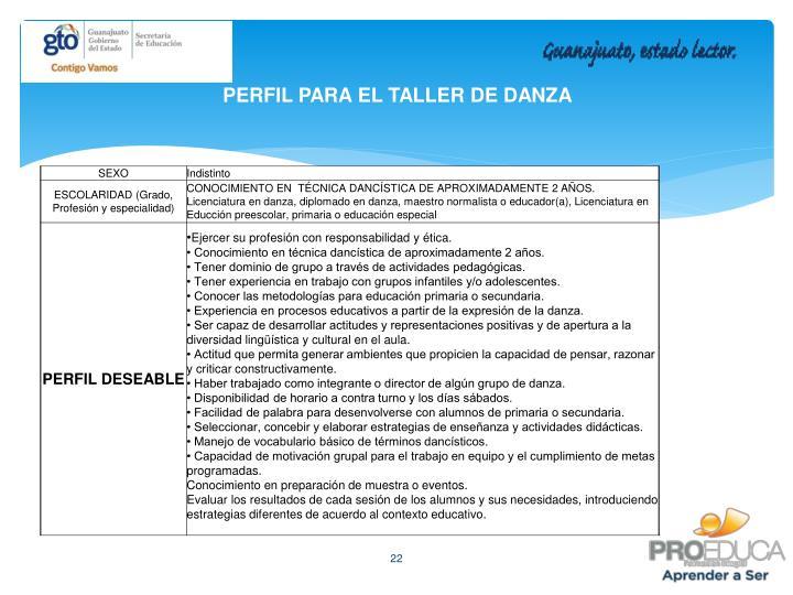 PERFIL PARA EL TALLER DE DANZA
