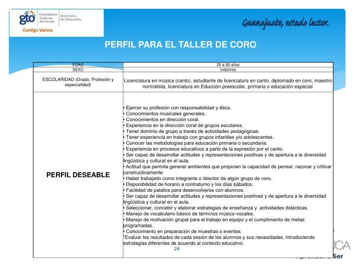 PERFIL PARA EL TALLER DE CORO