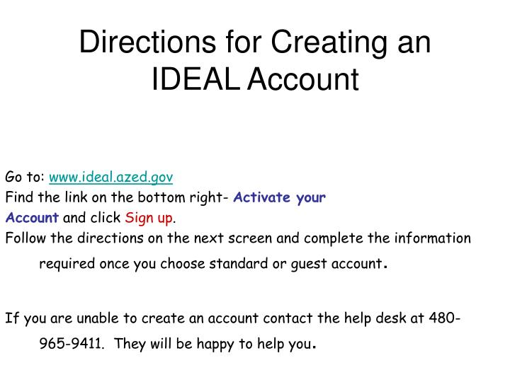 Directions for Creating an IDEAL Account