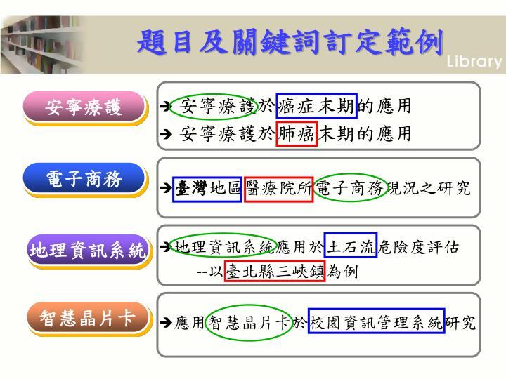 題目及關鍵詞訂定範例