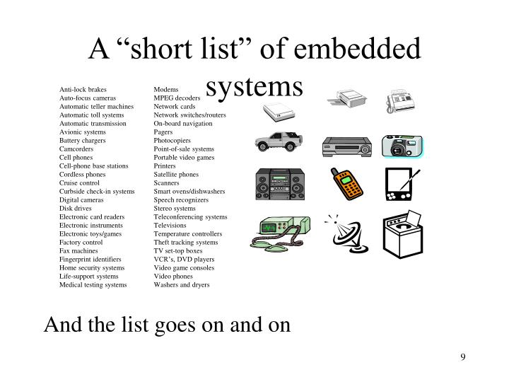 """A """"short list"""" of embedded systems"""