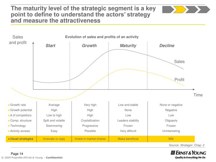 The maturity level of the strategic segment is a key point to define to understand the actors' strategy and measure the attractiveness