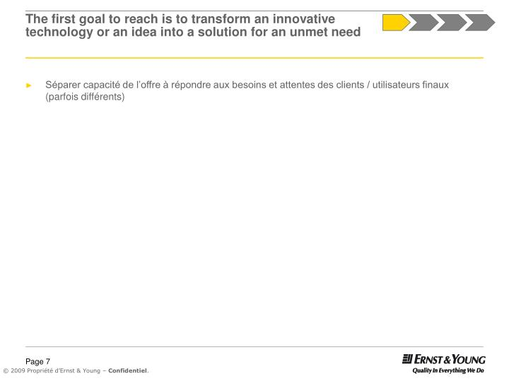 The first goal to reach is to transform an innovative technology or an idea into a solution for an unmet need